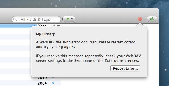 Zotero ran into a WebDAV file sync error