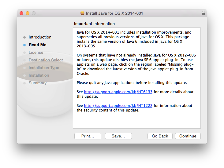 Easy installation of the Java update